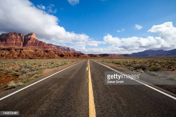 Road to distant desert landscape