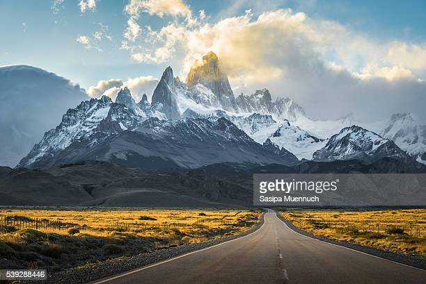 a road to el chalten - patagonia chile stock photos and pictures