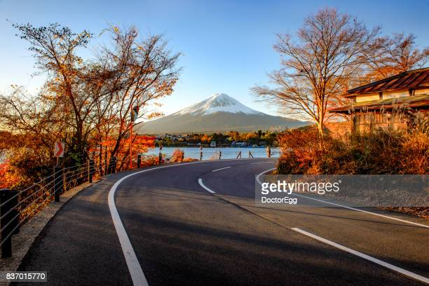 Road to Fuji Mountain in Autumn at Kawaguchiko Lake
