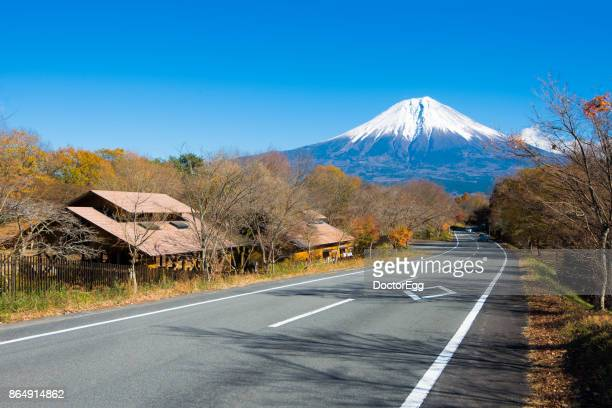 road to fuji mountain in autumn clear sky day at campground near tanuki lake - shizuoka stock pictures, royalty-free photos & images