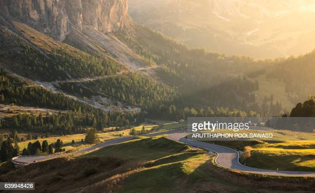 Road to Gardena pass , european alps , dolomites Italy