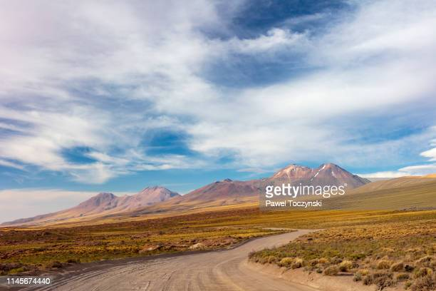 road to lagunas miscanti y miñiques located in atacama desert at 4,140m altitude, chile, january 19, 2018 - territorio selvaggio foto e immagini stock