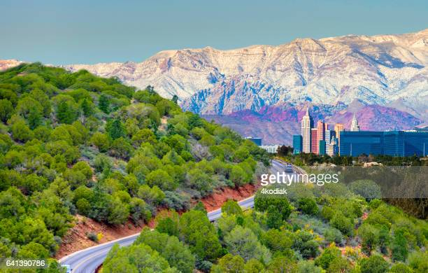road to las vegas - mt charleston stock photos and pictures