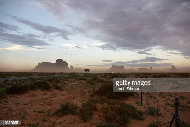 Road to Monument Valley at dusk