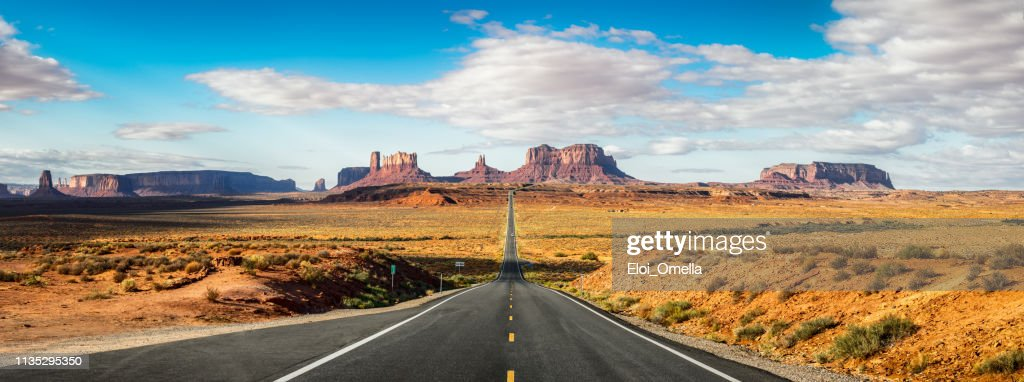 Road to Monument Valley Forrest Gump point. Utah : Stock Photo