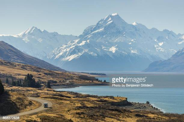 Road to Mount Cook and Lake Pukaki, South island, New Zealand