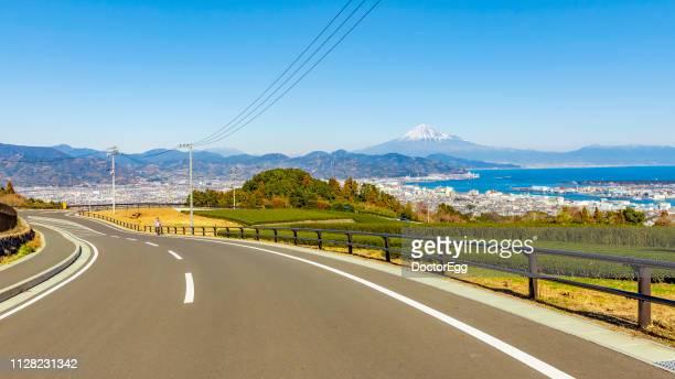 Road to Mount Fuji with Tea Plantation at Nihondaira, Shizuoka, Japan