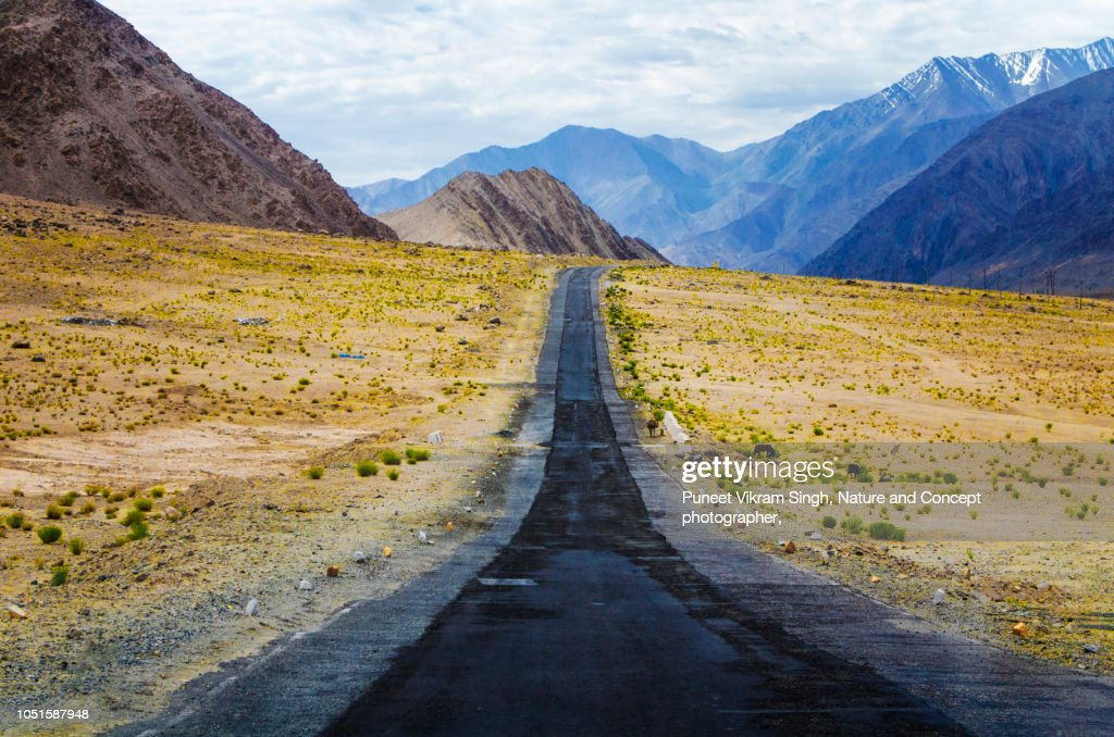 Road to mountains in diminishing perspective in Leh, Ladakh. : Stock Photo