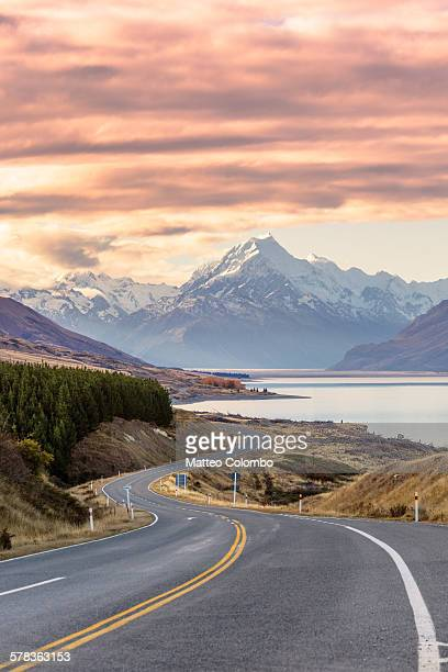 Road to Mt Cook at sunset, New Zealand