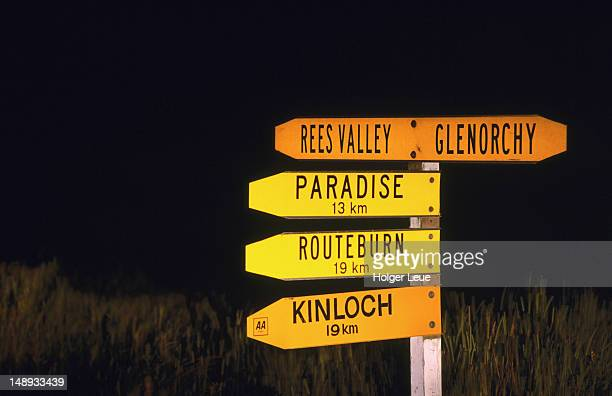 Road to Paradise signpost at Glenorchy near Queenstown.