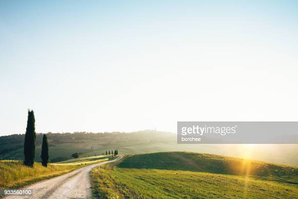 road to pienza - val d'orcia stock pictures, royalty-free photos & images