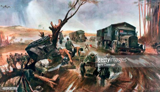 'Road to the Front' superior German organization 1941 A convoy of lorries heading towards the Russian Front A print from Signal November 1941 Signal...