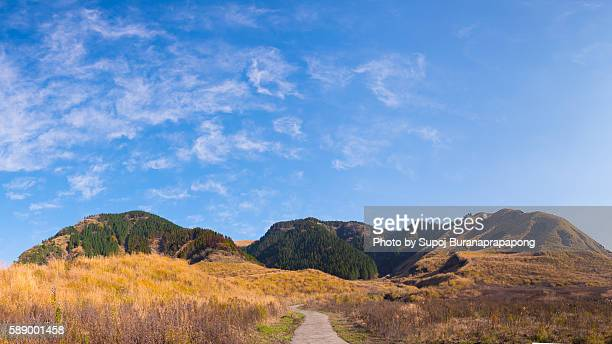 A road to the mountain at aso in kyushu japan