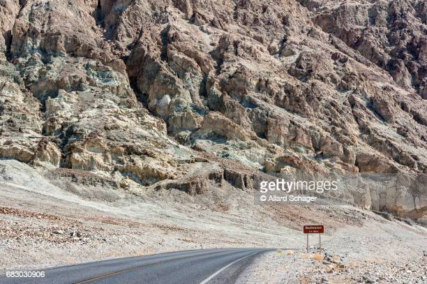 Road towards Badwater Basin in Death Valley National Park California