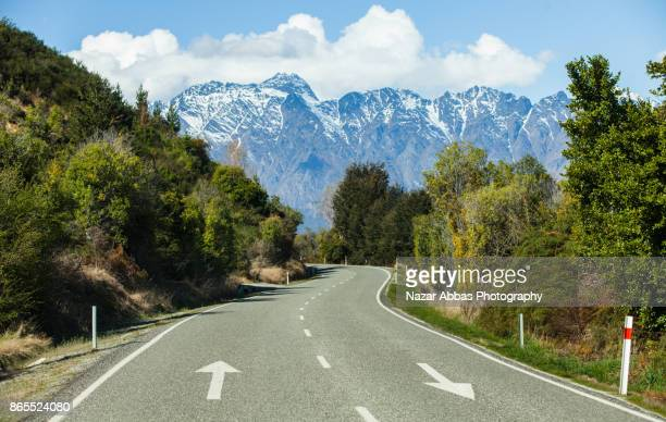 Road towards Lake Wakatipu Queenstown,New Zealand.