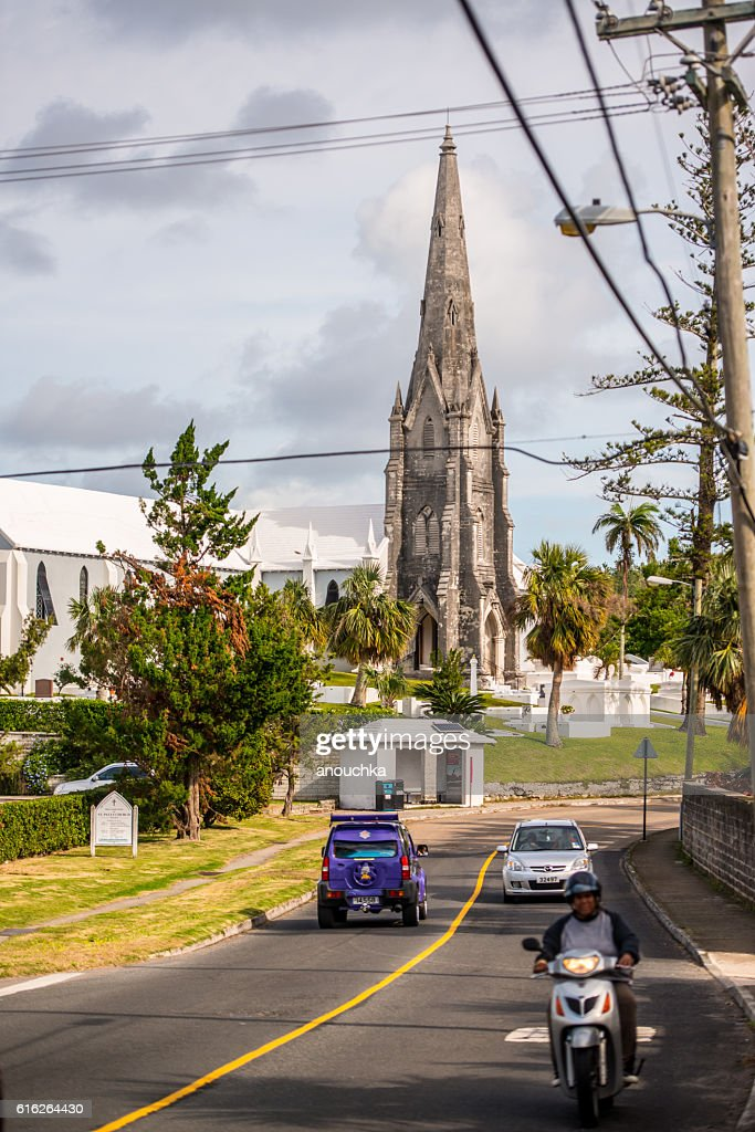 Road Traffic and Church on Bermuda : Stock Photo