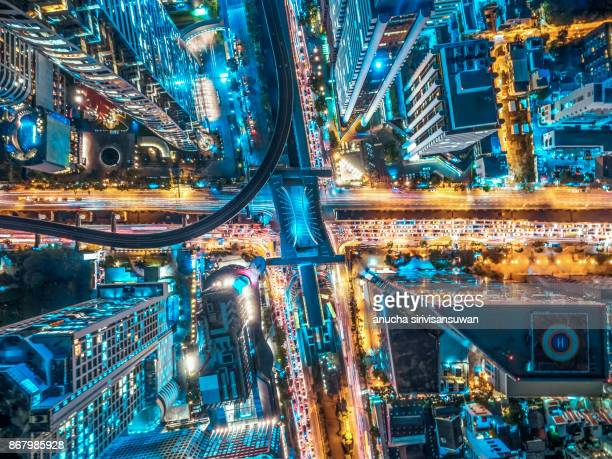 road traffic in city at thailand . - autonomous technology stock pictures, royalty-free photos & images
