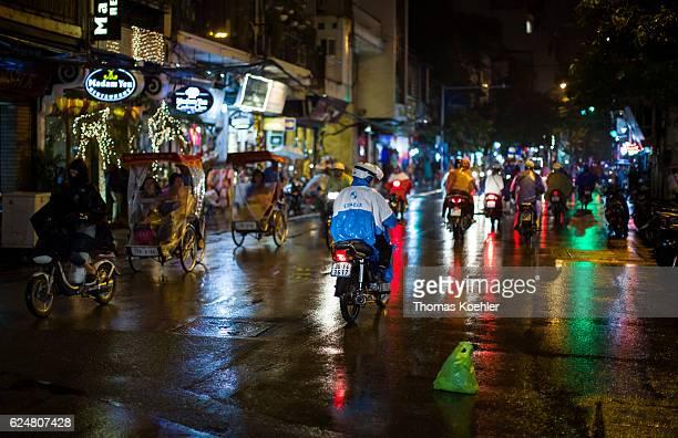 Road traffic in Hanoi by night on October 30 2016 in Hanoi Vietnam