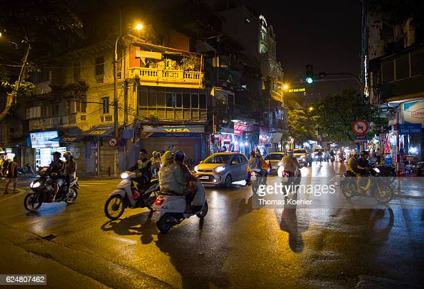 Road traffic in Hanoi by night on October 30 2016 in Hanoi Vietnam
