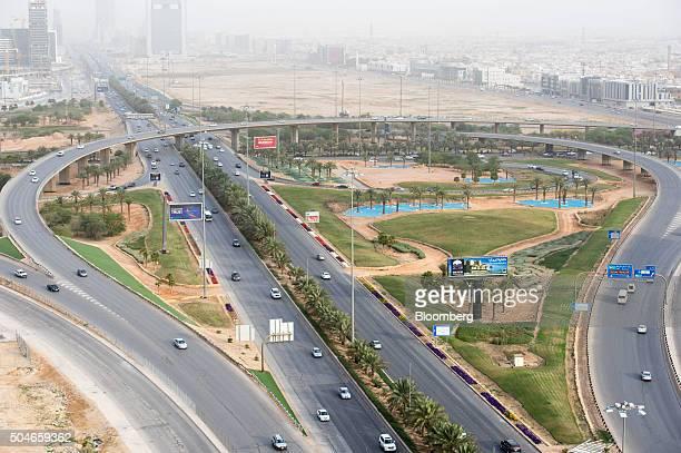 Road traffic passes through a highway intersection surrounded by residential neighborhoods in Riyadh Saudi Arabia on Sunday Jan 10 2016 Saudi Arabian...