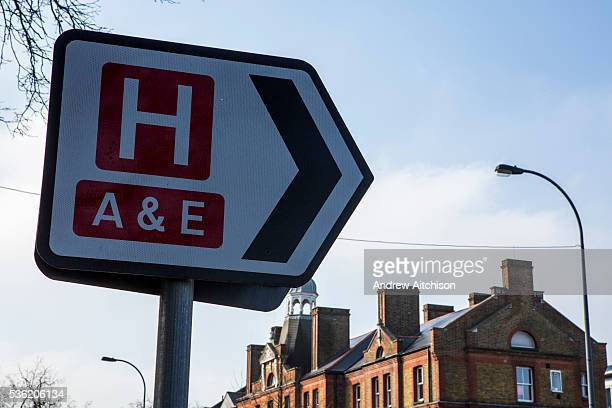 Road traffic sign directing people to an accident and emergency department in University Hospital Lewisham London UK
