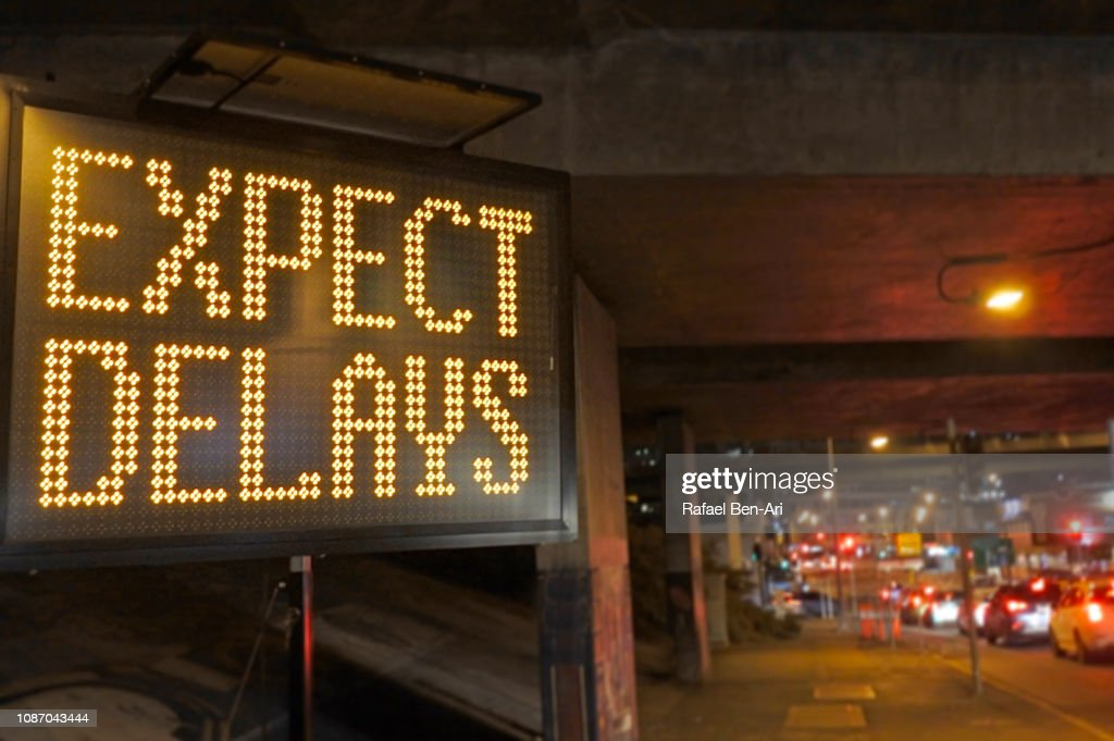 Road Traffic Sign - Expect Delays : Stock Photo