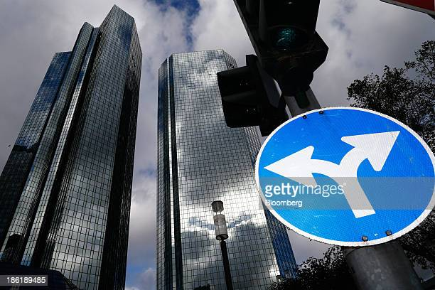 A road traffic sign stands in front of the Deutsche Bank AG headquarters in Frankfurt Germany on Tuesday Oct 29 2013 Deutsche Bank AG Europe's...