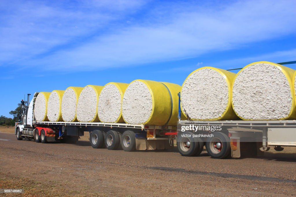 Road train carrying cotton bales : Stock Photo