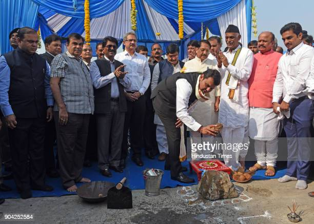 Road Transport Highway and Water Resources Minister Nitin Gadkari and Maharashtra Chief Minister Devendra Fadnavis on foundation Stone Laying...