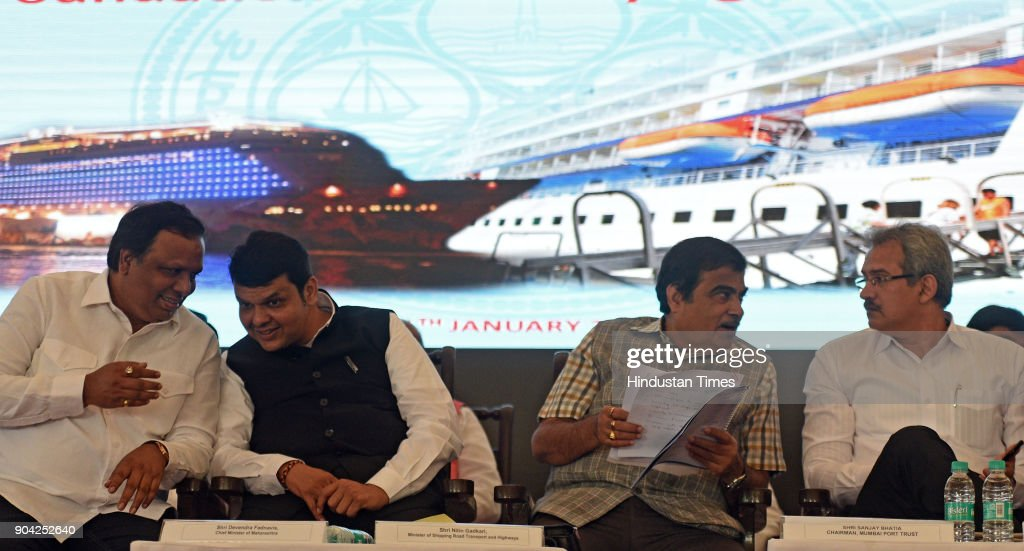 Road Transport & Highway and Water Resources Minister Nitin Gadkari, Maharashtra Chief Minister Devendra Fadnavis, Chairman of Mumbai Port Trust Sanjay Bhatia and MLA Ashish Shelar on foundation Stone Laying Ceremony of New International Cruise Terminal at BPX Cruise Terminal, Indira Dock on January 11, 2018 in Mumbai, India.