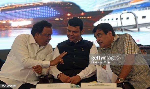 Road Transport Highway and Water Resources Minister Nitin Gadkari Maharashtra Chief Minister Devendra Fadnavis and MLA Ashish Shelar on foundation...