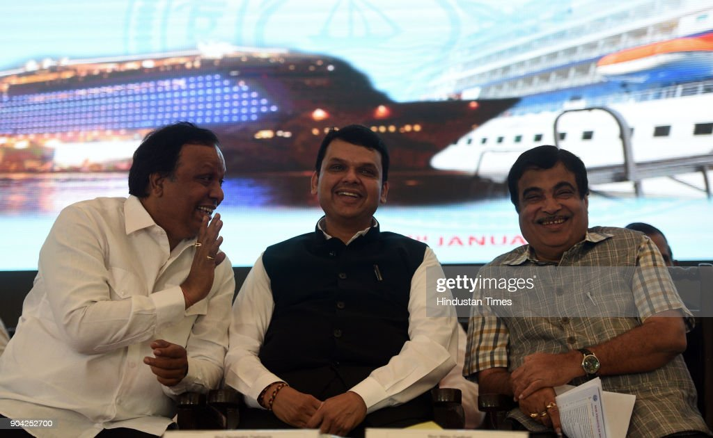 Road Transport & Highway and Water Resources Minister Nitin Gadkari, Maharashtra Chief Minister Devendra Fadnavis and MLA Ashish Shelar on foundation Stone Laying Ceremony of New International Cruise Terminal at BPX Cruise Terminal, Indira Dock on January 11, 2018 in Mumbai, India.