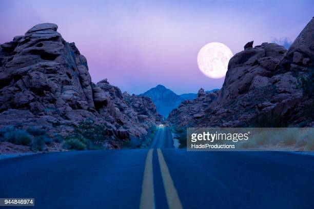 road trip at twilight - valley of fire state park stock photos and pictures