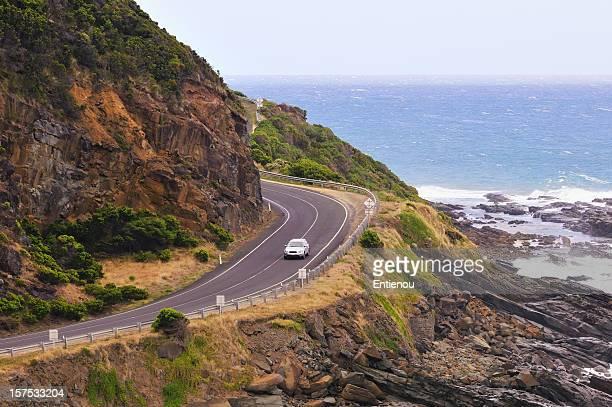 Road trip driving along coastal region