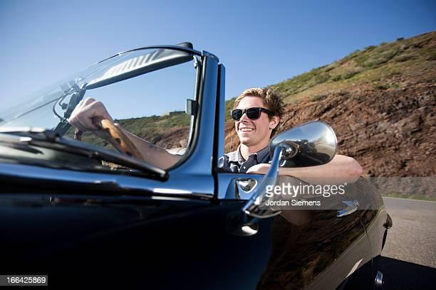 Road trip in convertable car.