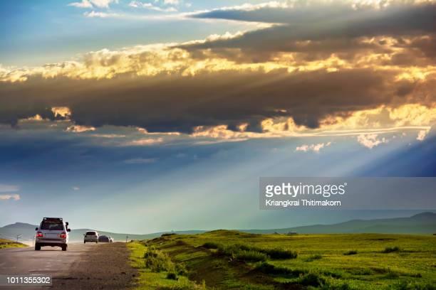 road trip in mongolia. - モンゴル ストックフォトと画像