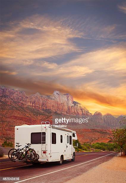 road trip - motor home - zion national park stock pictures, royalty-free photos & images
