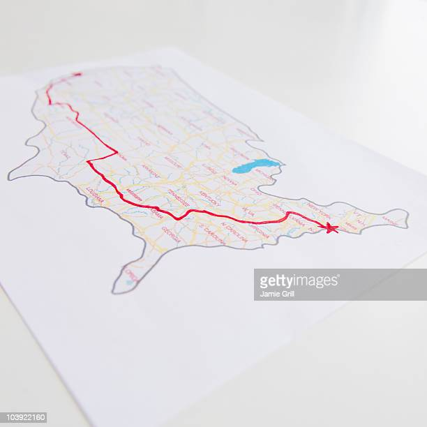 Road trip planned out on a map