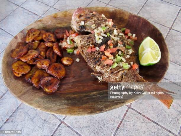 road trip snapshot: grilled fish in dakar senegal - dakar senegal stockfoto's en -beelden