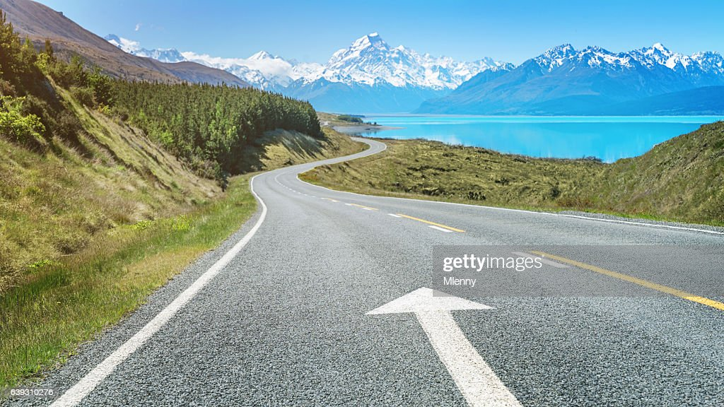 Road Trip to Mount Cook Lake Pukaki New Zealand : Stock Photo