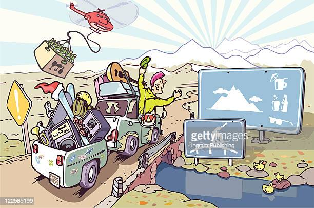 road trip to the mountains. - vector stock pictures, royalty-free photos & images