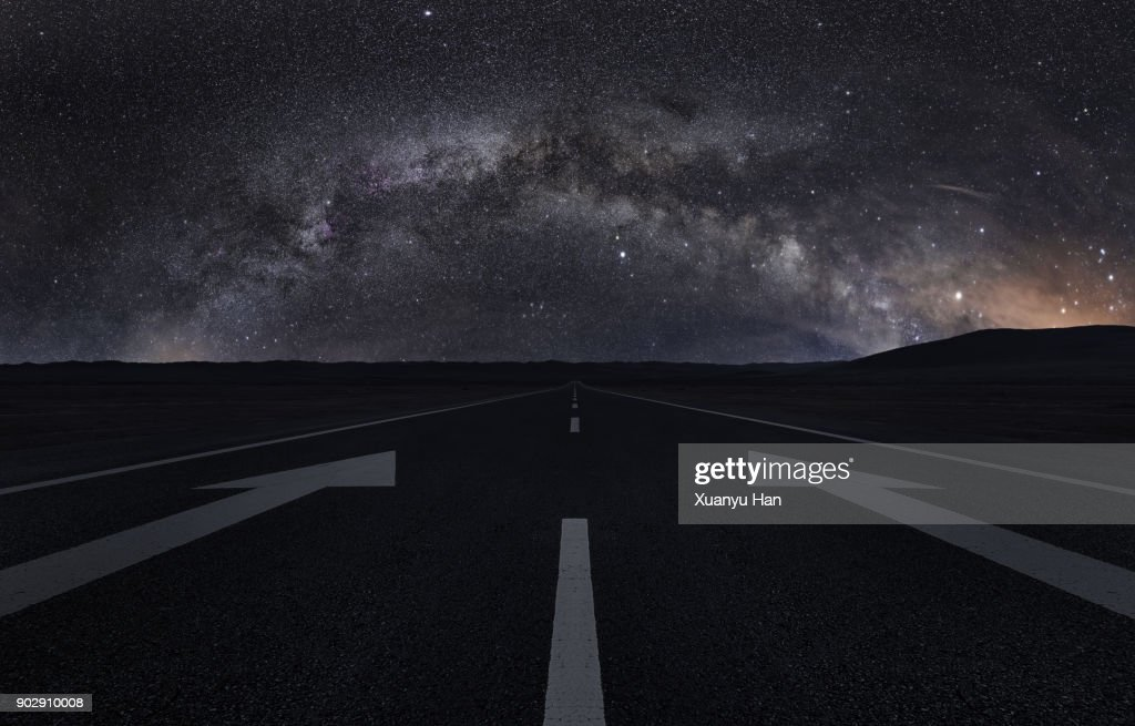 Road trip under the milky way : Stock Photo