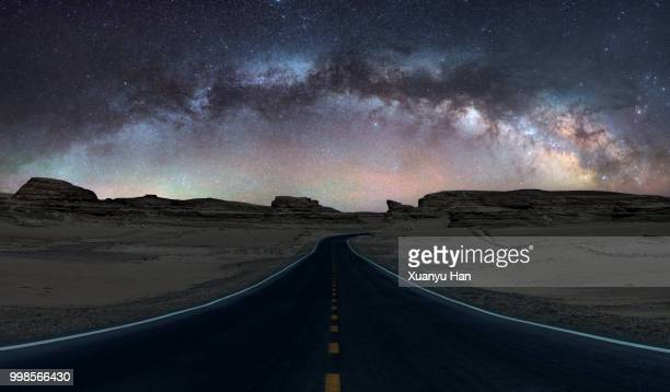 Road under the milky way