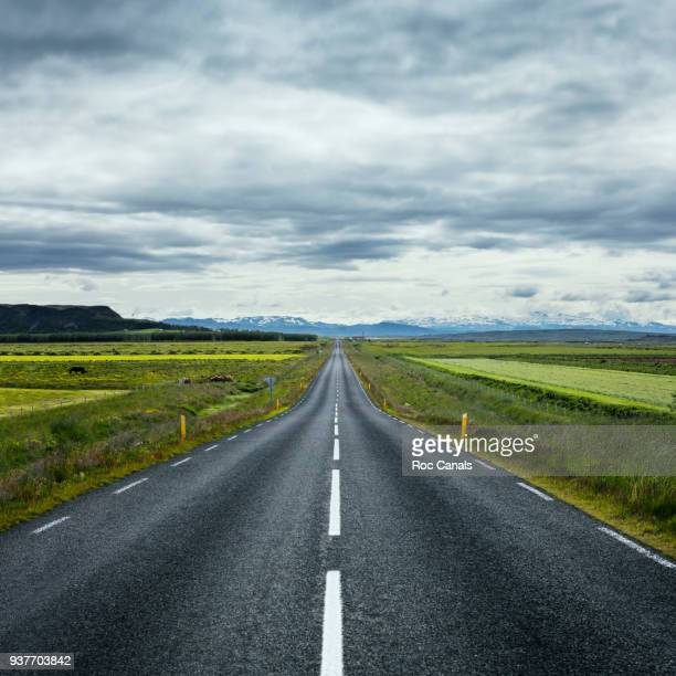 road vanishing point - dividing line road marking stock photos and pictures