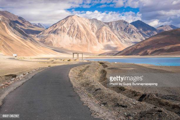 Road View of Pangong Lake with blue sky in summer ,Leh Ladakh,North India