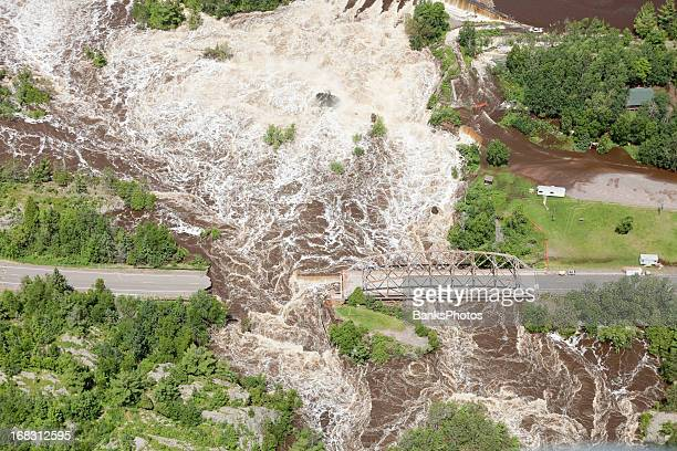road washed out from storm flooding - landslide stock pictures, royalty-free photos & images