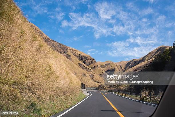 Road way to aso volcano in kyushu japan