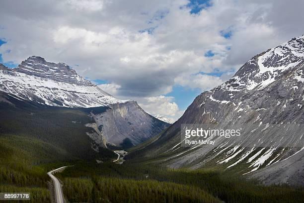 Road winding through mountain pass