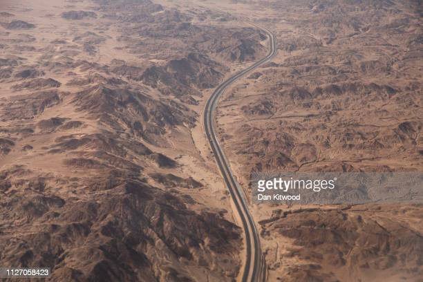 Road winds it's way through the Sinai Peninsula ahead of the first Arab-European Summit on February 24, 2019 in Sharm El Sheikh, Egypt. Leaders from...
