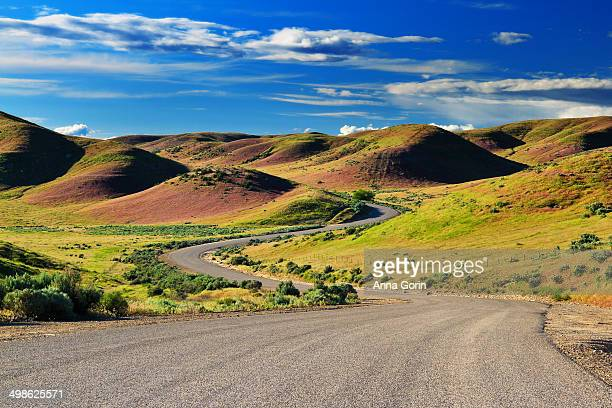 road winds through hills in southwest idaho - イーグル ストックフォトと画像